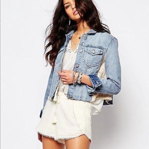 Free people denim and lace crop jacket